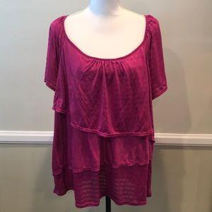 George Purple Ruffle front blouse shirt 3X